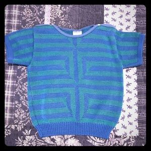 Clayeux blue turquoise sweater T4 snap top EUC